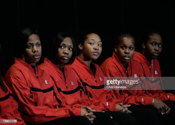 Rutgers women's basketball players attend a news conference at the school's basketball arena April 10 2007 in Piscataway New Jersey The team was...