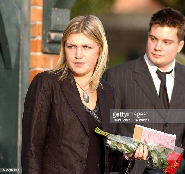 Ruth Adams friend of British backpacker Katherine Horton leaves the funeral service at St Isan's Church Llanishen Cardiff south Wales Tuesday January...