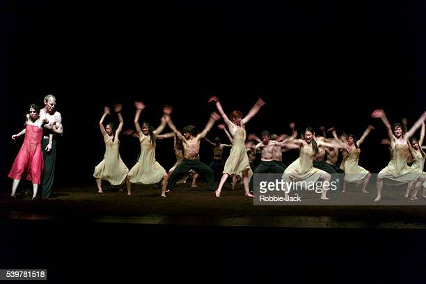 Ruth Amarante with artists of the company in Pina Bausch's production The Rite of Spring at Sadlers Wells in London