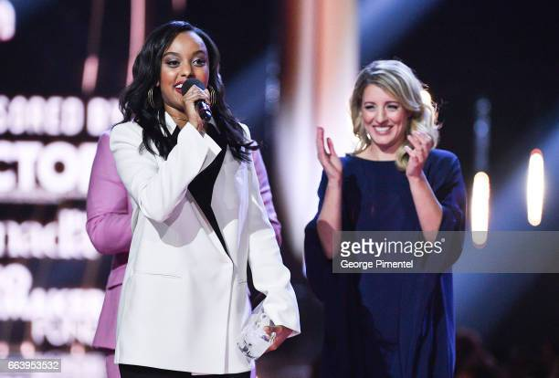 Ruth B receives award presented by Minister Melanie Joly at the 2017 Juno Awards at The Canadian Tire Centre on April 2 2017 in Ottawa Canada