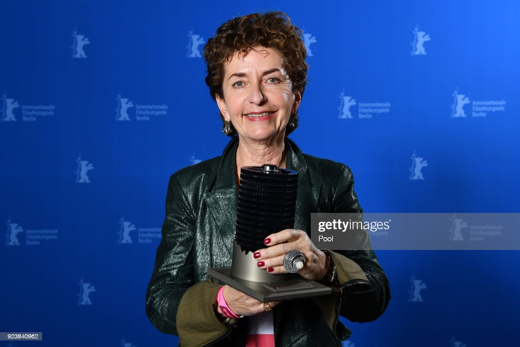 Ruth Beckermann, winner of the Glashuette Original Documentary Award for 'Waldheims Walzer' poses at the Award Winners photo call during the 68th Berlinale International Film Festival Berlin at Berlinale Palast on February 24, 2018 in Berlin, Germany.
