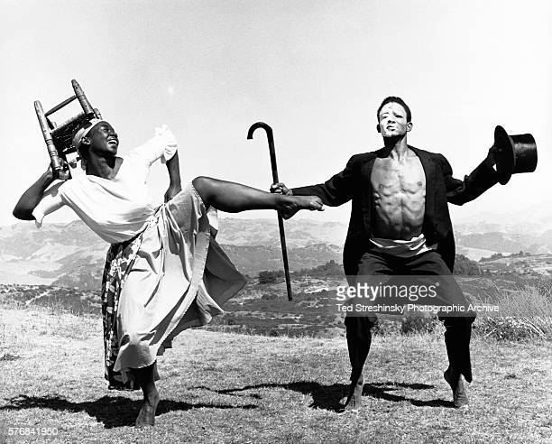 Ruth Beckford teacher of Haitian Primitive dance and one of her students rehearse outdoors in the Oakland Hills