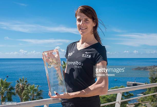 Ruth Beitia from Spain poses for picture with his Golden Tracks Womenâs Athlete of the Year 2016 trophy during the European Athletics Golden Tracks...