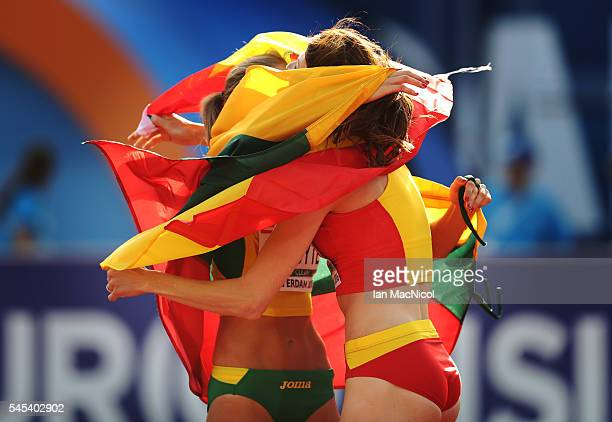 Ruth Beitia of Spain celebrates winning the High Jump with Airine Palsyte of Lithuania during Day Two of The European Athletics Championships at...