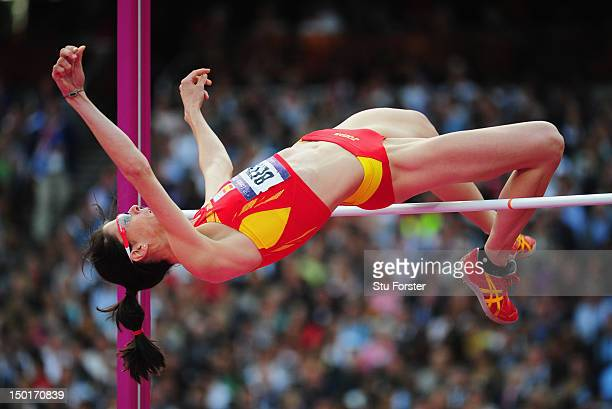 Ruth Beitia of Spain competes during the Women's High Jump Final on Day 15 of the London 2012 Olympic Games at Olympic Stadium on August 11, 2012 in...