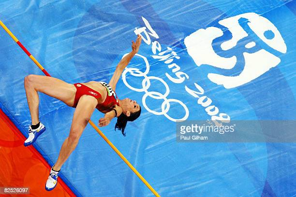 Ruth Beitia of Spain competes in the Women's High Jump Final held at the National Stadium on Day 15 of the Beijing 2008 Olympic Games on August 23,...