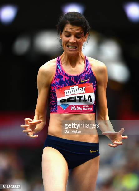 Ruth Beitia of Spain reacts during the Women's High Jump during the Muller Anniversary Games at London Stadium on July 9 2017 in London England