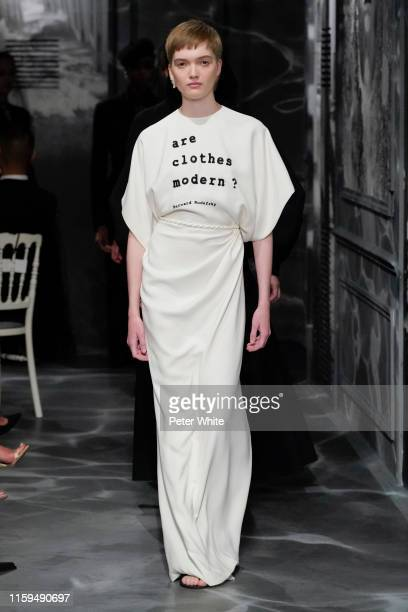Ruth Bell walks the runway during the Christian Dior Haute Couture Fall/Winter 2019 2020 show as part of Paris Fashion Week on July 01, 2019 in...
