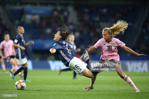 Ruth Bravo of Argentina is challenged by Claire Emslie of Scotland during the 2019 FIFA Women's World Cup France group D match between Scotland and...