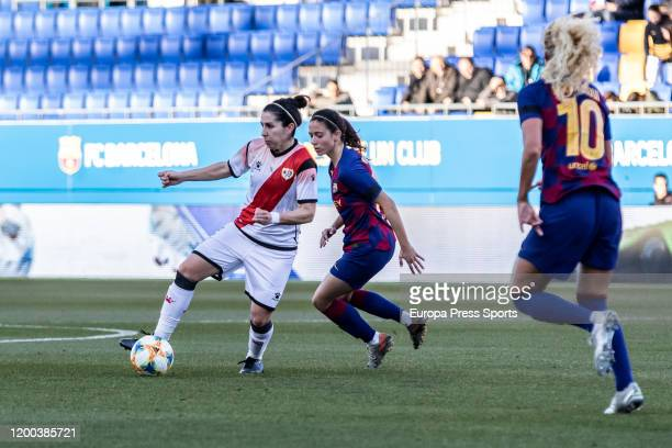 Ruth Bravo of Rayo Vallecano and Aitana Bonmati of Fc Barcelona in action during the Spanish League Primera Iberdrola women football match played...