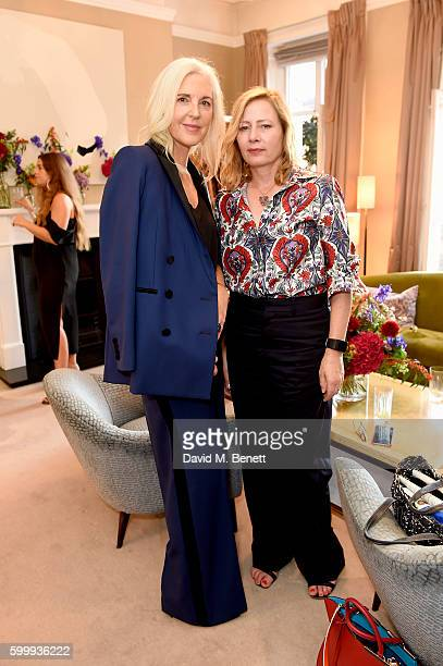 Ruth Chapman and Sarah Mower attend a cocktail reception hosted by RACIL and MATCHESFASHIONCOM to celebrate the launch of Racil AW16 Collection on...
