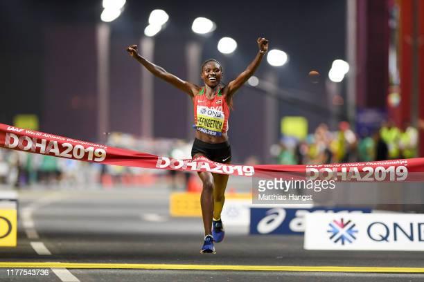 Ruth Chepngetich of Kenya celebrates winning the Women's Marathon during day one of 17th IAAF World Athletics Championships Doha 2019 at Khalifa...