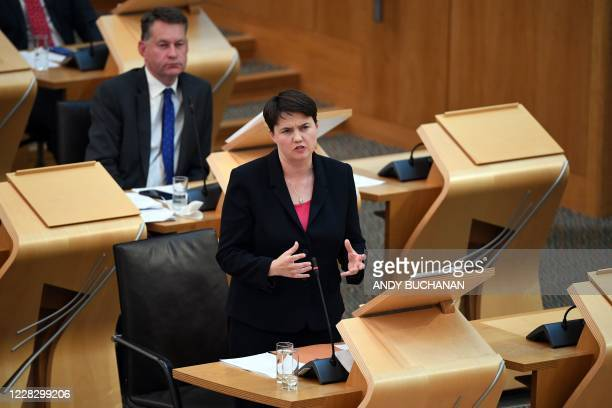 Ruth Davidson MSP Conservative lead in the Scottish Parliament speaks during a session in which First Minister of Scotland Nicola Sturgeon delivered...