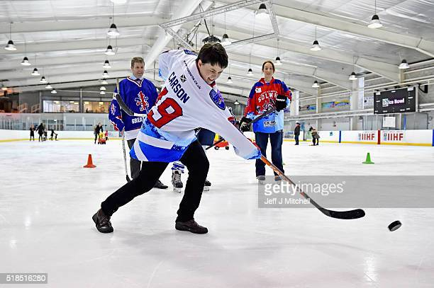 Ruth Davidson Scottish Conservative leader meets with members of the Scotland's female under twenties ice hockey team in the Ice Bowl on April 1 2016...