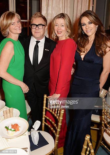 Ruth Dundas Sir Elton John Lady Helen Taylor and Elizabeth Hurley attend the Louis Dundas Centre Dinner at the Mandarin Oriental Hyde Park on...