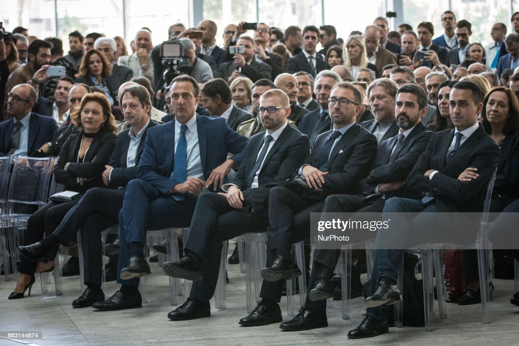 Ruth Durghello, Marcello De Vito, Alfonso Bonafede, Luigi Di Maio, Luca Bergamo attend a press conference in Rome, Italy on October 19, 2017. Rome will be hosting a Formula E world championship race next April 2018.