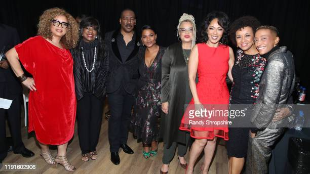 Ruth E Carter Chaz Ebert Eddie Murphy Nia Long Kasi Lemmons Debra Martin Chase Cheryl Boone Isaacs and Justice Singleton attend the Celebration of...
