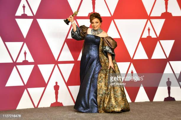 Ruth E Carter poses with the Best Costume Design award for Black Panther in the press room during at Hollywood and Highland on February 24 2019 in...