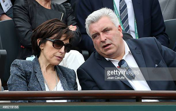 Ruth Elkrief and French Minister of Transport Frederic Cuvillier attend Day 8 of the French Open 2014 held at RolandGarros stadium on June 1 2014 in...