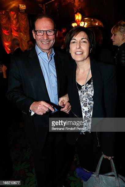 Ruth Elkrief and husband Claude Czechowski attend 'Des gens qui s'embrassent' premiere after party at Maxim's Restaurant on April 1 2013 in Paris...