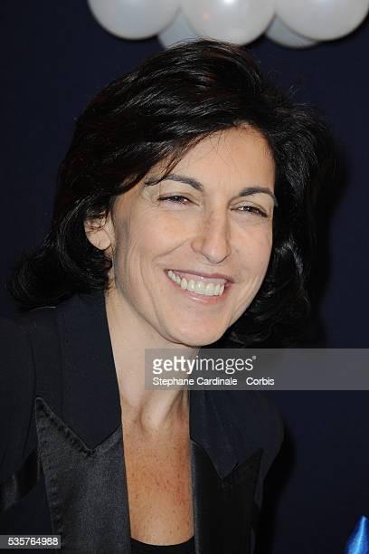 Ruth Elkrief attends the premiere of 'Mamma Mia ' at Theatre Mogador in Paris