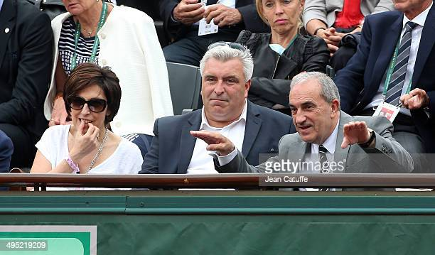 Ruth Elkrief French Minister of Transport Frederic Cuvillier and Jean Gachassin president of the French Tennis Federation attend Day 8 of the French...