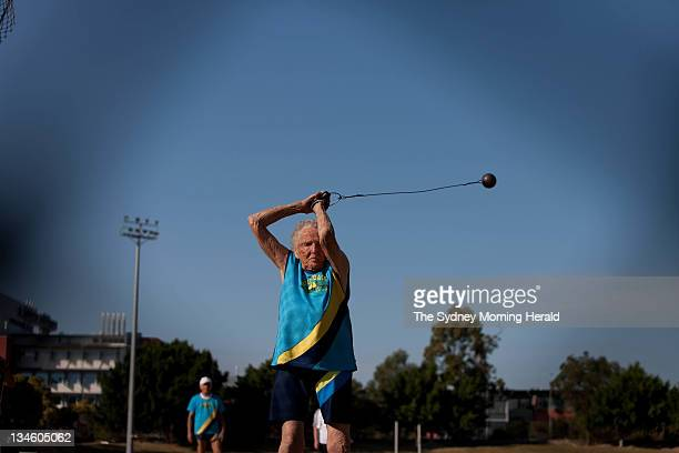 Ruth Frith competes in the hammer throw at the athletics track at Griffith University on the Gold Coast Queensland