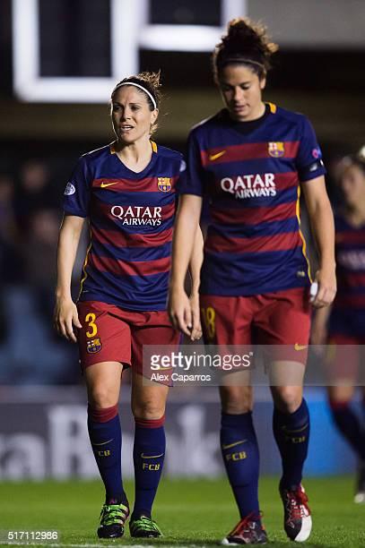 Ruth Garcia and Marta Torrejon of FC Barcelona look on during the UEFA Women's Champions League Quarter Final first leg match between FC Barcelona...