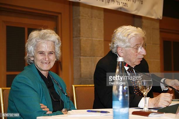 Ruth Gavison professor of international law and Professor Yehuda Blum former Israeli ambassador to the UN at a conference on Israeli security...