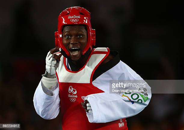 Ruth Gbagbi of Cote d'Ivoire celebrates winning in the Women's Taekwondo 67kg Bronze Medal Contests against Farida Azizova of Azerbaijan on Day 14 of...