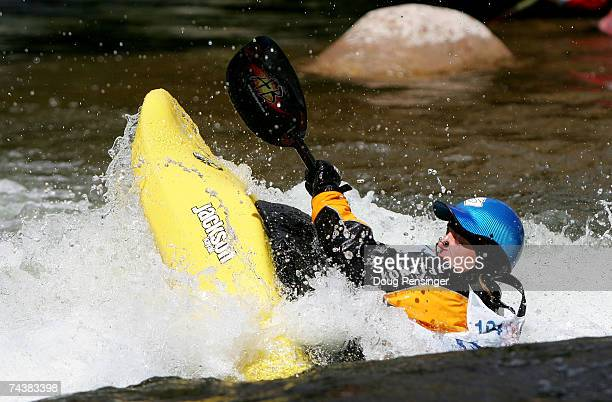 Ruth Gordan competes in the Semi-Finals as she went on to finish second in the Women's Kayak Pro Freestyle at Whitewater Park on the Gore Creek...