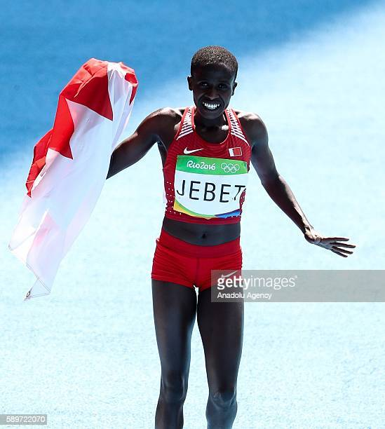Ruth Jepet of Bahrain is seen after he won gold medal in the Women's 3000 meter steeplechase final of the Rio 2016 Olympic Games in Rio de Janeiro...