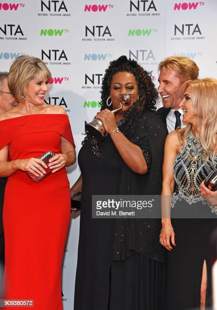 Ruth Langsford Alison Hammond Nik Speakman and Eva Speakman winners of the Daytime award for This Morning pose in the press room at the National...