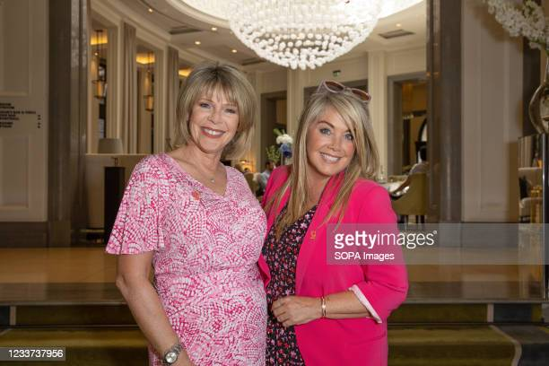 Ruth Langsford and Lucy Alexander attend afternoon tea at Corinthia Hotel London in aid of Breast Cancer Now hosted by Angie Greaves and Concorde...