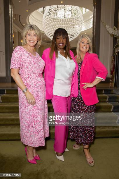 Ruth Langsford, Angie Greaves and Lucy Alexander attend afternoon tea at Corinthia Hotel London in aid of Breast Cancer Now hosted by Angie Greaves...