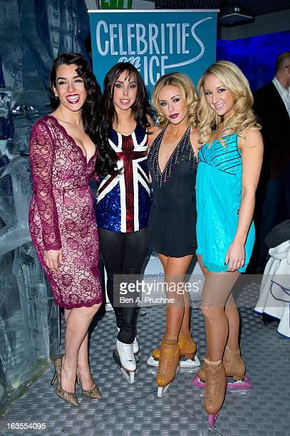 Ruth Lorenzo Beth Tweddle Brianne Delcourt and Jenna Smith attend a photocall to announce the tour of Celebrities On Ice at The Ice Bar on March 12...