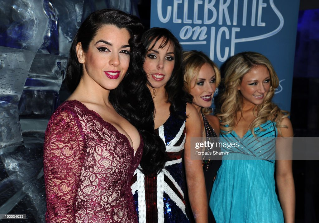 [L-R] Ruth Lorenzo, Beth Tweddle, Brianne Delcourt and Jenna Smith attend a photocall to announce the tour of Celebrities On Ice at The Ice Bar on March 12, 2013 in London, England.