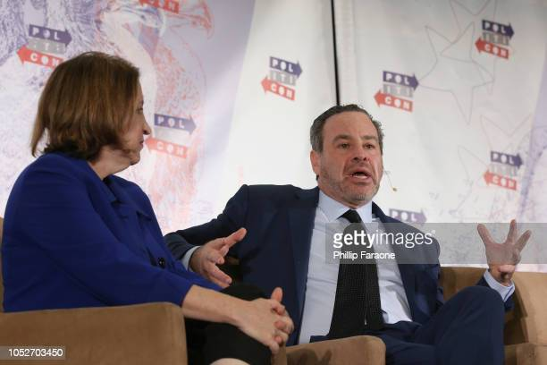Ruth Marcus and David Frum speak onstage during Politicon 2018 at Los Angeles Convention Center on October 21 2018 in Los Angeles California