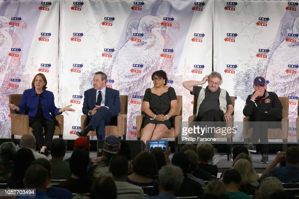 Ruth Marcus David Frum April Ryan Ambassador Joe Wilson and James Carville speak onstage during Politicon 2018 at Los Angeles Convention Center on...