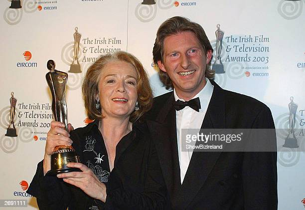 Ruth McCabe and Adrian Dunbar attend the Irish Film and Television Awards at the Burlington Hotel on November 1 2003 in Dublin Ireland