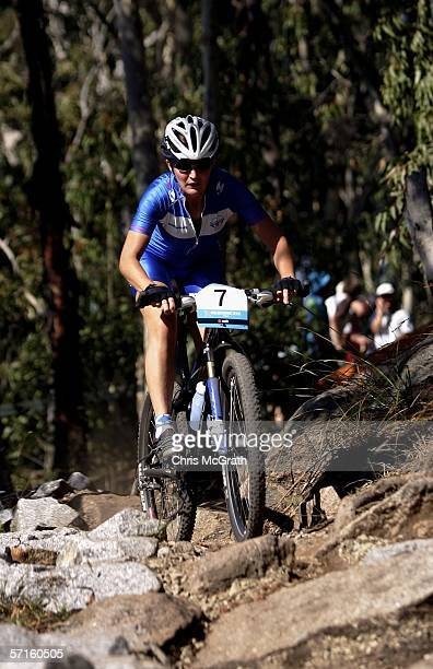 Ruth McGavigan of Scotland competes in the Women's Individual Cross Country Mountain Biking Event at the State Mountain Bike Course in Lysterfield...