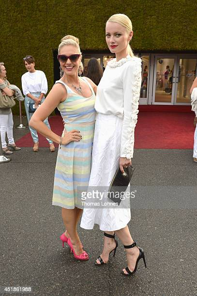 Ruth Moschner and Franziska Knuppe attend the Kilian Kerner show during the MercedesBenz Fashion Week Spring/Summer 2015 at Erika Hess Eisstadion on...