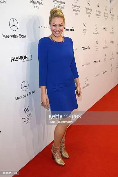 Ruth Moschner arrives for the Guido Maria Kretschmer Show during MercedesBenz Fashion Week Autumn/Winter 2014/15 at Brandenburg Gate on January 16...