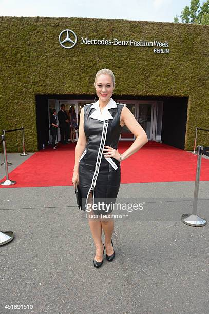 Ruth Moschner attends the Glaw show during the MercedesBenz Fashion Week Spring/Summer 2015 at Erika Hess Eisstadion on July 9 2014 in Berlin Germany
