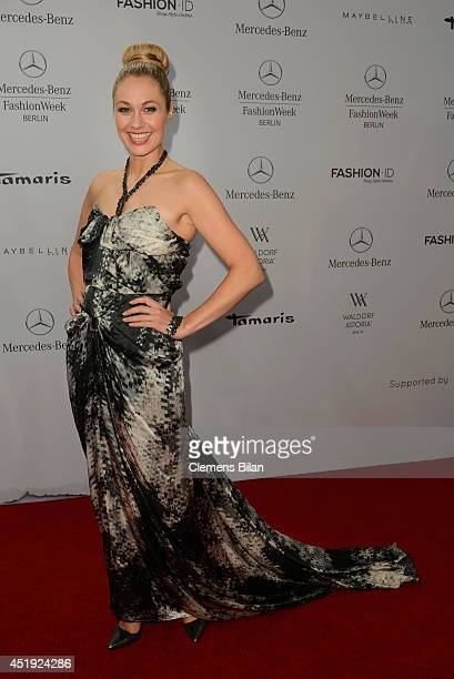 Ruth Moschner attends the Guido Maria Kretschmer show during the MercedesBenz Fashion Week Spring/Summer 2015 at Erika Hess Eisstadion on July 9 2014...