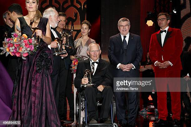 Ruth Moschner Dieter Hallervorden Quirin Berg Jeanette Hain Wolfgang Schaeuble Thomas Bach and Hans Sigl on stage after the Bambi Awards 2015 show at...