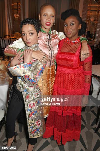 Ruth Negga Adwoa Aboah and Chimamanda Ngozi Adichie attend Harper's Bazaar Women of the Year Awards in association with Ralph Russo Audemars Piguet...