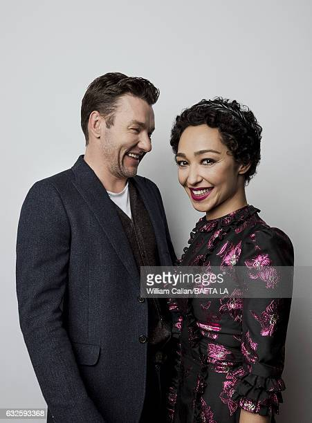 Ruth Negga and Joel Edgerton pose for a portraits at the BAFTA Tea Party at Four Seasons Hotel Los Angeles at Beverly Hills on January 7 2017 in Los...
