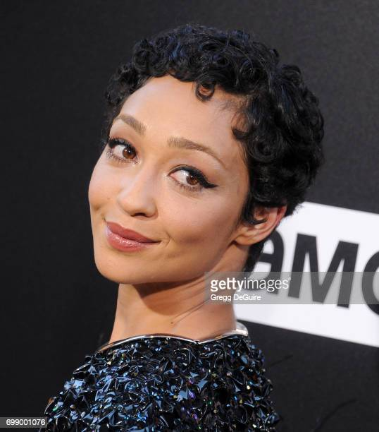 Ruth Negga arrives at the premiere of AMC's Preacher Season 2 at The Theatre at Ace Hotel on June 20 2017 in Los Angeles California