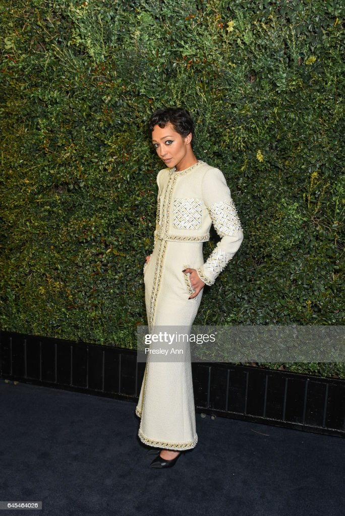 Ruth Negga attends Charles Finch and CHANEL Pre-Oscar Awards Dinner at Madeo Restaurant on February 25, 2017 in Los Angeles, California.